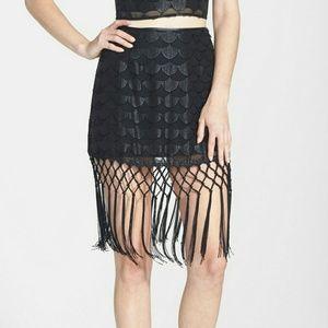 ASTR Dresses & Skirts - Fringe Trim Jacquard Fish Scale Skirt