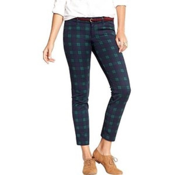 71% off Old Navy Pants - Old Navy Pixie Blue & Green Plaid Pants ...