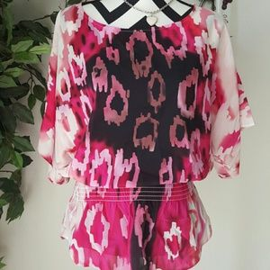 Pink & Black printed top