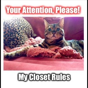 Other - Rules for my closet.  TY!  💚😽