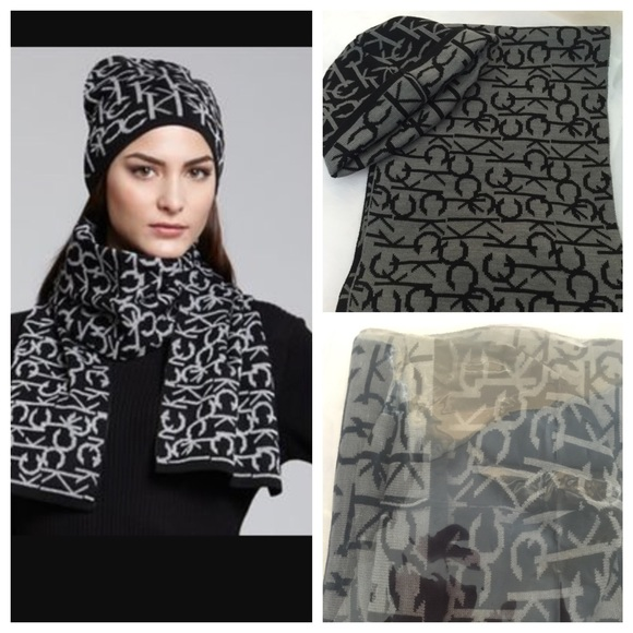 Calvin Klein Accessories - New Calvin Klein CK Hat   Scarf Set Grey Black 61107a3aa79