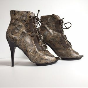 BCBGeneration Brown leather open toe booties