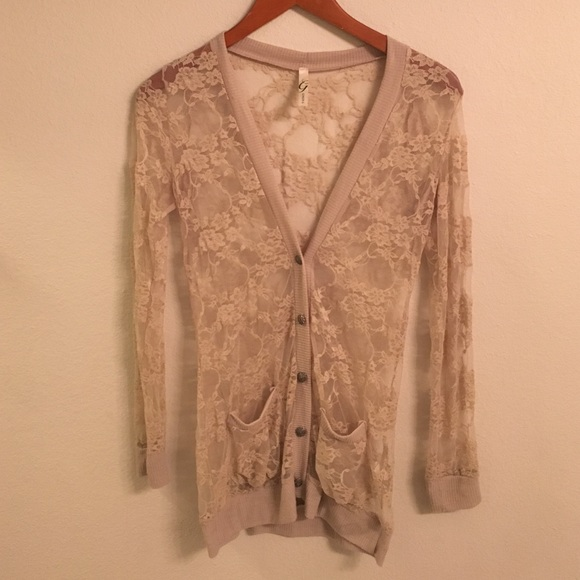 63% off Sweaters - Nude long sleeve lace cardigan from Kaylee's ...