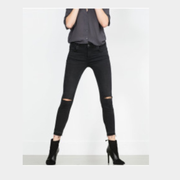 zara jeans brand new pants with rip at the knees poshmark