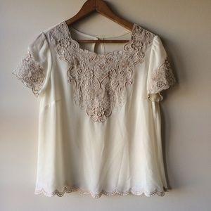 Vintage Embroidered Sheer Top