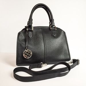Black faux leather bag London Fog
