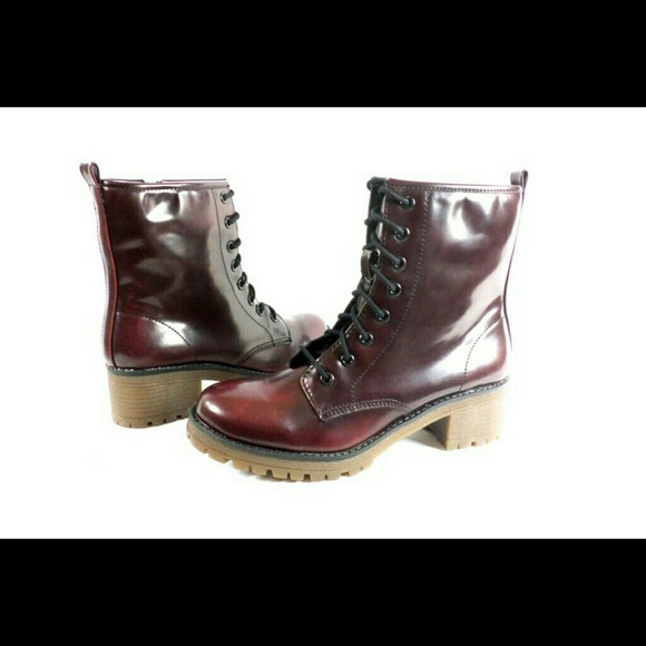 Eloisee Burgundy Laceup Combat Boots