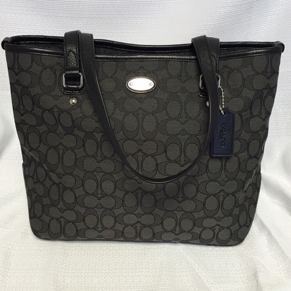 804f1182f3b5 Coach zip top tote in black smoke