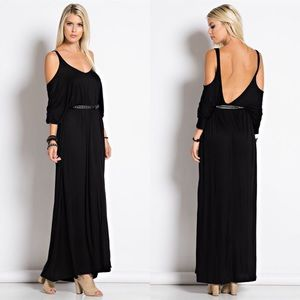 "X ""Embrace"" Cold Shoulder Maxi Dress"