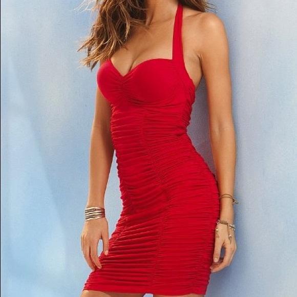 d3d69ae21c VS ruched push up bra top bombshell halter dress. M 564ce0837fab3a65bd000c44