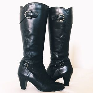 Clarks black leather belted long boots