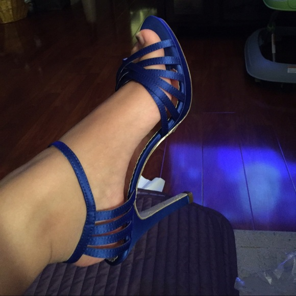 84% off Davids Bridal Shoes - Horizon blue strappy heels from ...