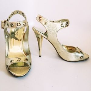 Guess light gold leather heels with grommet detail