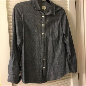 J Crew Polka Dot Chambray Shirt XS