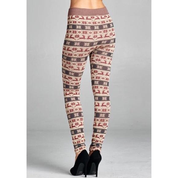 100% off Pants - XX NOELLE fair isle deer leggings - CREAM from ...