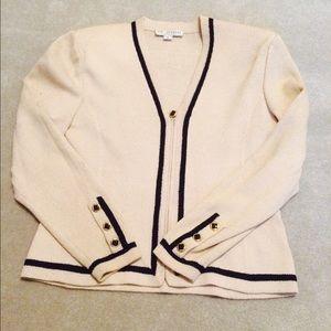 St. John Jackets & Blazers - St. John Cream & Blue Sweater Blazer Have Skirt
