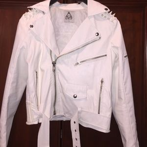 Unif white spiked leather jacket