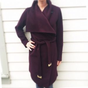 New (w/o tags) Harlow Draped Wool Coat in Wine (S)