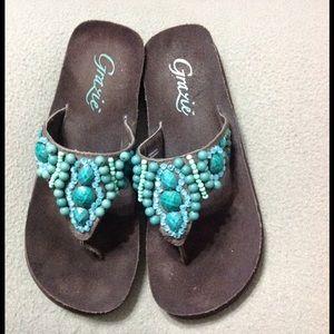 Grazie Gorgeous Grazie Tall Flip Flops Turquoise 6 5