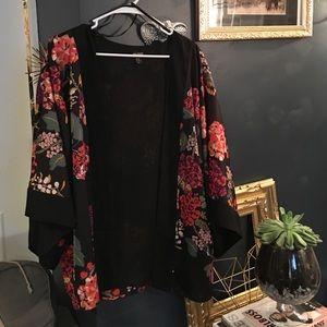 Floral print silk style kimono