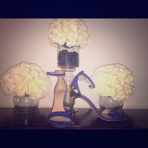 Royal blue sandal with gold heel
