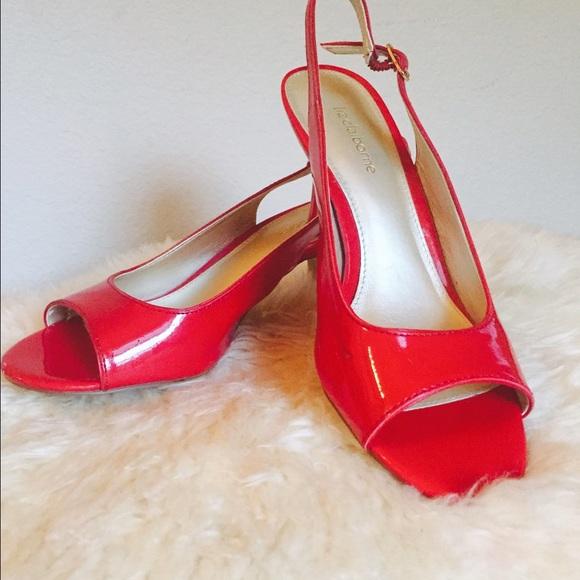 02ccae1a56e Liz Claiborne Shoes - Red Kitten Heels Peep Toe