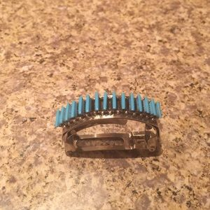 Zuni Sterling Silver Turquoise Hair Clip