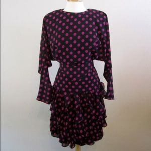 80's polka dot ruffle dress