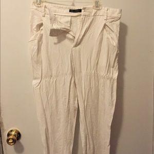 Zara Trafaluc White Linen Ankle Pants