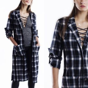 "1DAYSALE ""Madame"" Long Plaid Trench Jacket"