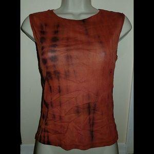 DKNY Jeans Orange Tie Dye Print Sheer Top