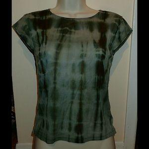 DKNY Jeans Green Tie Dye Print Sheer Top