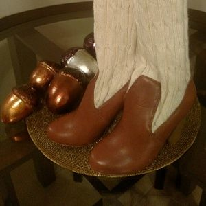 Shoes - Brown Leather and Cream Sweater Boots