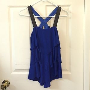 Royal blue 3-tiered top with leather straps