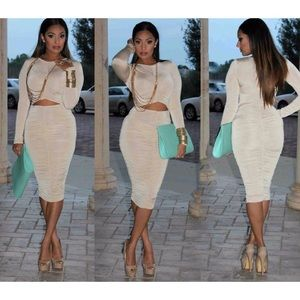 Dresses & Skirts - • NUDE long sleeve ruched dress size S & M •