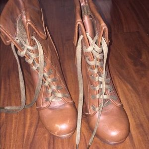 Tan lace up heel boots