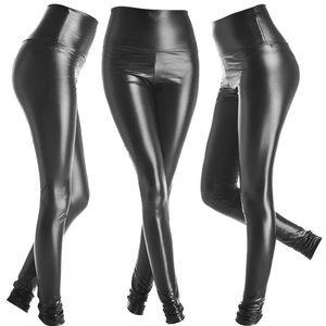 Faux leather legging pleather shiny black XS