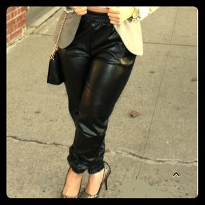 Pants - Faux leather jogging pants