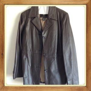 Dark Brown Leather Blazer Price Drop!!!!!