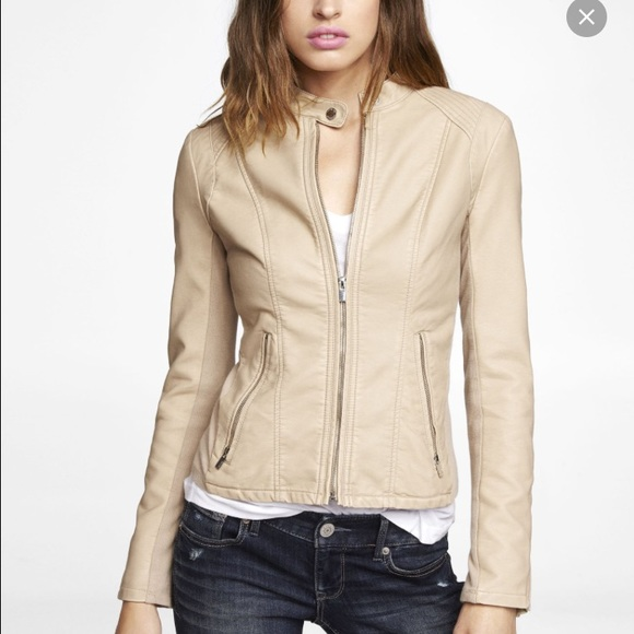 Express Jackets Coats Beige Faux Leather Jacket Poshmark