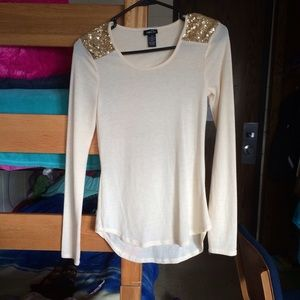 Cream and gold long sleeve sweater