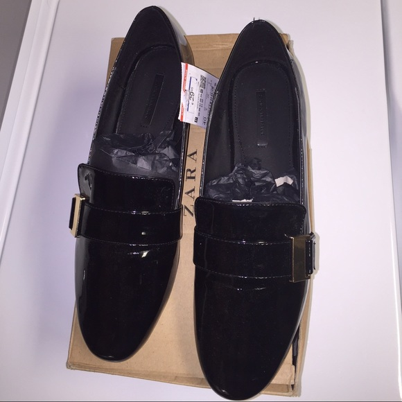 c897640ce5 Zara black loafers with metal detail Sz 9 BNWT