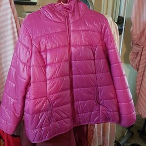 Pink bubble jacket.