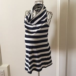 Maternity navy and white striped top