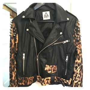 Unif Studded Leopard Biker Jacket