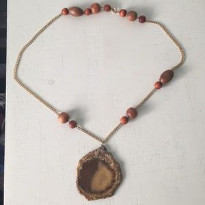 Handmade Amber stone and wooden bead necklace