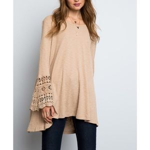 "X ""Star Splitter"" Bell Lace Sleeved Tunic Top"