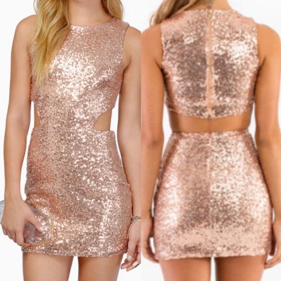 26a0f348 Rose gold sequin cut out small dress TOBI. M_564e34cf2fd0b726ad002a2e