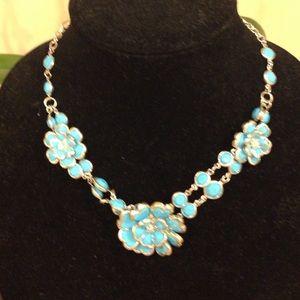 Blue multi flower necklace
