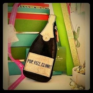 Auth Kate spade champagne pop, fizz bottle clutch